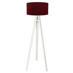 Licht-Erlebnisse Stehlampe AIMEE Dreibein Stehlampe Bordeaux Silber Weiß Holz Stoff Wohnzimmer Lampe