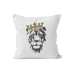 Autiga Dekokissen Kissenbezug Löwen-Kopf mit Krone Autiga® weiß