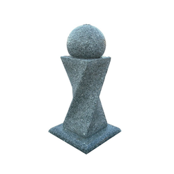 Dehner Gartenbrunnen Tower mit LED, 56 x 90 x 56 cm, Granit, grau
