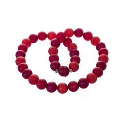 Bella Carina Perlenkette Kette mit Polaris Perlen rot 14 mm, Magnetverschluss 50 cm