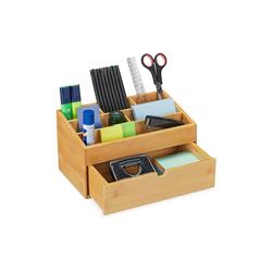 relaxdays Schreibtischaufsatz Schreibtisch Organizer Bambus