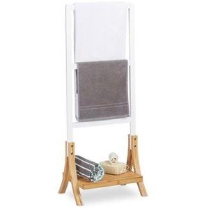 Böttcher-AG Handtuchhalter freistehend, mit Ablage, Handtuchständer mit 3 Stangen, Bambus, braun/weiß