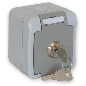 Peranova 102452 Feuchtraum-Schalterprogramm Schutzkontakt-Steckdose abschließbar Pera Hellgrau, Dunkelgrau
