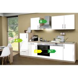 Menke Küchen Küchenzeile Premium Lack 280 cm weiß - 4 Platten Kochfeld