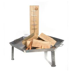 acerto® Feuerschale Massive Feuerschale 55cm + 1 Flammlachsbrett + 5 Stk. Kaminholz Buche
