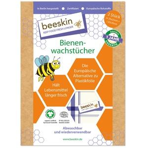 beeskin Bienenwachstuch 2er Set zum Frischhalten & Aufbewahren von Lebensmitteln – Größe: M, 25x25 cm & L, 35x35 cm, 2 Stück (Kitchen Towel)