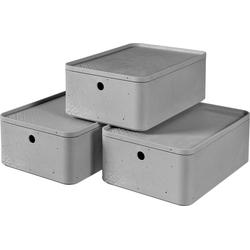 Curver Aufbewahrungsbox BETON M (Set, 3 Stück), stapelbar, je 8 Liter