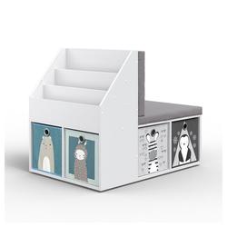 Vicco Standregal Kinderregal ONIX mit Sitzbank 6 Faltboxen Kindersitzbank Kinderzimmerregal