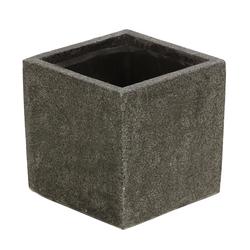 Dehner Dekovase Pflanztopf, quadratisch, Polystone, dunkelgrau 30 cm