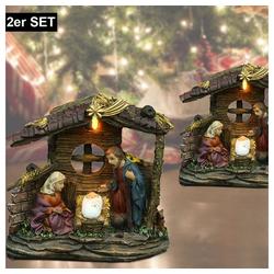 etc-shop LED Dekolicht, 2x LED Weihnachts Tisch Leuchte Krippe X-MAS Advents Fensterbank Deko Figuren