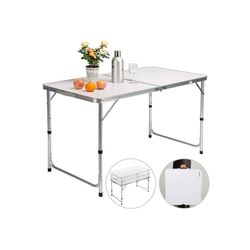 Casaria Campingtisch (1-St), platzsparend klappbar • höhenverstellbare Tischhöhe • wetterfestes Alu Gestell • leicht • Sonnenschirmhalterung • Tragegriff • leicht zu transportieren weiß
