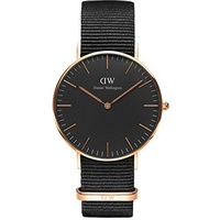 Daniel Wellington Classic Black Textil 36 mm DW00100150