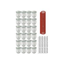 Weck Einmachglas Sturzgläser mit Deckel − Einmachglas 24−teilig − 220 ml − Einweckglas inkl. Gummiringe und Weckklammern, Glas, (24-tlg)