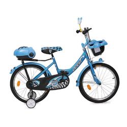 Byox Kinderfahrrad Kinderfahrrad 20 Zoll 2082, 1 Gang 1 Gang, keine, blau, Stützräder, zwei Gepäckkörbe, Klingel