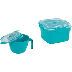 WENKO Mikrowellenbehälter, (Set, 2 tlg.) blau Mikrowellengeschirr Kochen Backen Haushaltswaren Mikrowellenbehälter
