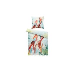 Satin Bettwäsche  Papagei ¦ 100% Baumwolle   ¦ Maße (cm): B: 135