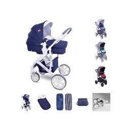 Lorelli Kombi-Kinderwagen Kombikinderwagen Verso 2 in 1, verstellbarer Schiebegriff Fußsack, Tasche blau