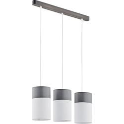 Licht-Erlebnisse Pendelleuchte LUNETA Pendelleuchte Stoff Schirm Weiß Braun Zylinder Küchenlampe Lampe