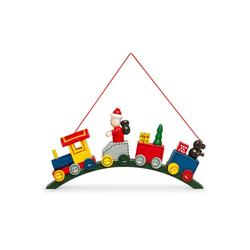 SIKORA Christbaumschmuck BS332 Weihnachtsmann in der Bogen Eisenbahn Holz Weihnachtsbaum Anhänger