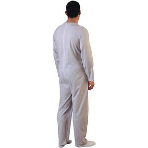 Rekordsan Schlafanzug für Herren, klassisch, Baumwolle, mit 1 Reißverschluss, Grau, Größe 3 – 1 Stück