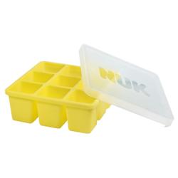 NUK Fresh Foods Gefrierform, Gefrierbehälter aus flexiblem Silikon, 1 x Gefrierform à 9 x 60 ml, Farbe: gelb