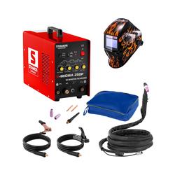 Stamos Basic Schweißset WIG Schweißgerät - 250 A - 230 V - Puls + Schweißhelm – Firestarter 500