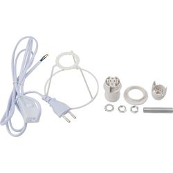 VBS Lampenfassung Lampenfassung mit Kabel Schutzbügel weiß, E14 mit Stecker