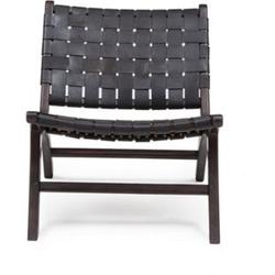 Design Lounge Sessel Teak Holz Leder Stuhl Clubsessel Relaxsessel Unikat schwarz