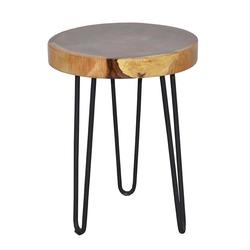 Holztisch aus Mungur Massivholz und Eisen rund