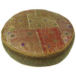 Guru-Shop Sitzkissen Orientalisches rundes Patchwork Kissen 40 cm,.. gelb