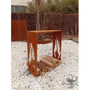 Zen Man Edelrost Kaminholzregal Garten Kaminholzunterstand Holzregal aus Metall Handarbeit 1mm (25 * 100 * 100cm)