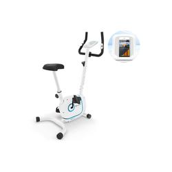 KLARFIT Fahrradtrainer Myon Cycle Heimtrainer 12kg Schwungmasse SmartCardio Studio weiß