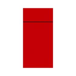 DUNI Duniletto-Slim Bestecktasche, Serviettentasche aus hochertigem Material, Maße: 40 x 33 cm, 1 Karton = 4 x 65 Stück, rot