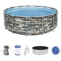BESTWAY Power Steel Frame Pool 427x122cm Komplett-Set mit Filterpumpe rund, St.