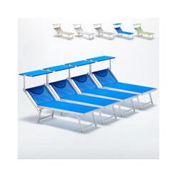 4 Sonnenliegen Luxus Italienischen Strandliegen mit Dach Italia | Blau