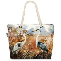 VOID Strandtasche (1-tlg), Kraniche Landschaft Beach Bag Vögel Teich Garten Kranich Natur Gemälde See