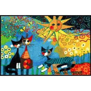 Rosina Wachtmeister Fußmatte La Dolce Vita waschbar trocknergeeignet Katzenmotiv, Größe:50 x 75 cm