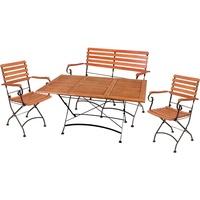 Harms Import 4 teilig Tisch Sitz Gruppe Eukalyptus Stühle Bank Garten Armlehnen Balkon Lounge