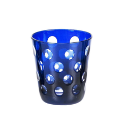 EDZARD Gläser-Set Ela Blau, Kristallglas, 6er-Set Wassergläser, handgeschliffene Überfanggläser für Gin, Longdrinkgläser-Set, bunte Trinkgläser, 230 ml