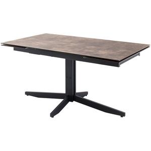 HPL/Glas-Säulentisch ausziehbar ¦ braun ¦ Maße (cm): B: 90 H: 76 » Möbel Kraft