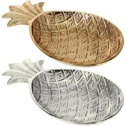 Dekoschale ANANAS aus Aluguss - Dekoananas silber oder gold - Schale 32 x 18 x 3 cm
