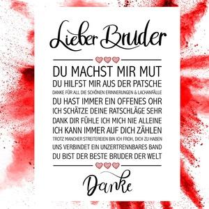 Close Up Bester Bruder - Danke Zitate Poster - Deko Geschenk zum Geburtstag, Weihnachten, jeden Tag - 30 x 40 cm, Premium Qualität