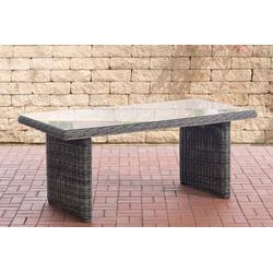 CLP Gartentisch Fontana 180 x 90 cm, mit einer Tischplatte aus Glas grau