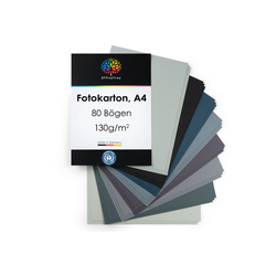 OfficeTree Bastelkartonpapier 80 Blatt Bastelpapier Grau Töne, Tonpapier A4 130g/m zum Basteln und Gestalten
