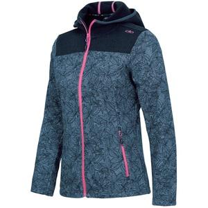 CMP Damen Strickjacke für Frauen mit Kapuze und Blumendruck 30H7506 Jacke, Blue, D46