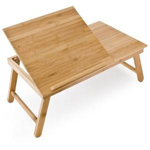 relaxdays Tabletttisch Bambus Betttablett mit Leseklappe