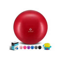 KESSER Gymnastikball, Fitness Ball Gymnastik mit Luftpumpe dicker Yogaball BPA-frei Sitzball Anti-Burst rot 55 cm