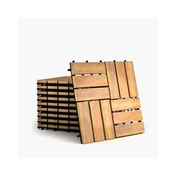 Teppichboden Terrassenfliesen, COSTWAY, 12 Latten, 10er Set 30x30cm Holz, Bodenfliesen, Akazienholz, Holzfliesen Bodenbelag, Klickfliesen Braun 12 Latten) 12 Latten