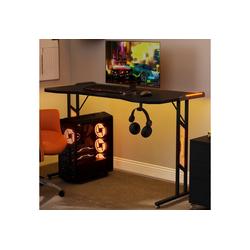 Gotui Arbeitstisch, Gaming Schreibtisch mit LED-Beleuchtung
