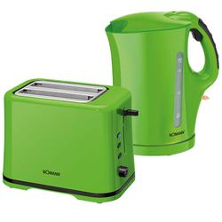 Frühstückset 2tlg. 1,7 Liter Wasserkocher Trockengehschutz 2-Scheiben Toaster Krümelschublade grün